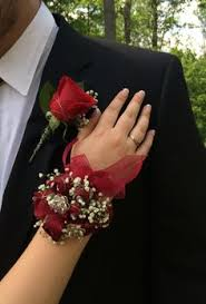 prom wrist corsage ideas boutonniere wrist corsage roses freesia myrtle grass