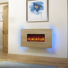 essential fireplaces deluxe 36 inch wall mounted electric fire oak