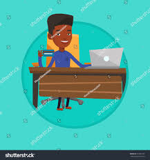 young african man sitting table laptop stock vector 610591565