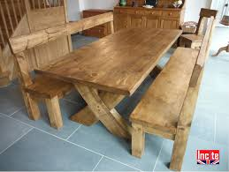 Chunky Rustic Dining Table Derbyshire Handcrafted Plank Crossed Leg Table By Incite