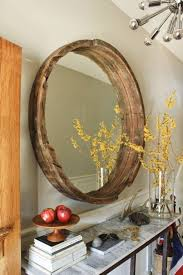 Wood Mirror Frame Unique Large Round Mirror With Diy Wooden Barrel Frame Amidug Com