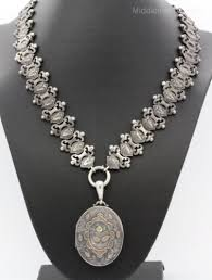 silver watch chain necklace images Victorian sterling silver book chain locket w inlaid gold rose jpg