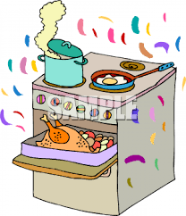 clipart picture of a stove with thanksgiving dinner cooking on it