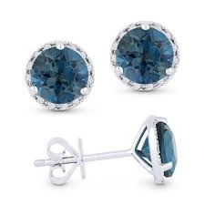 blue diamond stud earrings london blue topaz and diamond halo stud earrings freedman