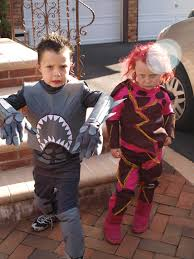 home made shark boy and lava halloween costumes a cult