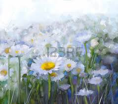 oil painting daisy flowers in field hand paint white flowers