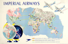 United Route Map 1938 Original Travel Poster Imperial Airways Route Map By Gardner