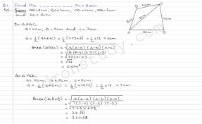 class 9 class ix cbse r d sharma solutions heron u0027s formula ex