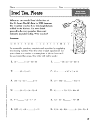 Order Of Operations Worksheet Answers Iced Tea Order Of Operations 7th 9th Grade Worksheet