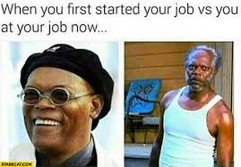 Meme L - when you first started your job vs you at your job now samuel l