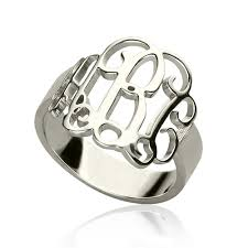 monogram ring personalized silver monogram ring