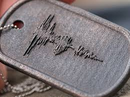 personalized jewlery custom steel dog tag sound wave necklace with embossed wave form