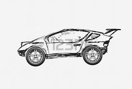 car sketch project pencil drawing on a calc with paper clip