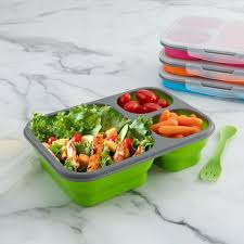 silicone cuisine ksp lunch pop bento rectangle silicone food container asstd