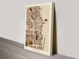 Chicago Street Map by Chicago Beige Street Map Canvas Art Michael Tompsett