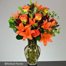 roses and lilies stunning flower arrangement of orange fiery asiatic lilies and roses