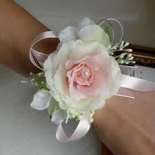 bridesmaid corsage six 6 pieces of silk corsage blue bridesmaid wrist flower corsage
