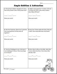 free printable simple addition and subtraction word problems