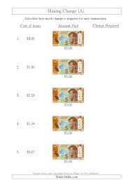 making change from new zealand 5 banknotes a