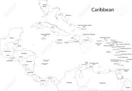 Map Caribbean by Outline Caribbean Map With Countries And Capital Cities Royalty