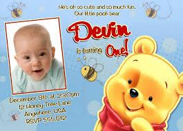 winnie the pooh birthday invitations printable photo card