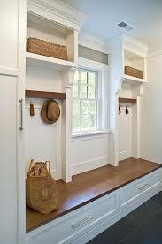 mid century brown entryway storage bench