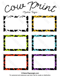 printable name tags printable cow print name tags