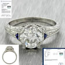 platinum diamonds blue art deco filigree 1 69ctw sapphire