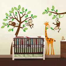 stickers jungle chambre bébé arbre de bande dessinée stickers singes girafe zoo stickers muraux