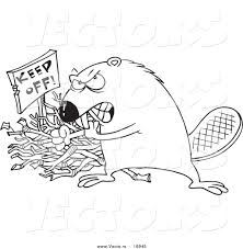 vector of a cartoon defensive beaver guarding his stick pile