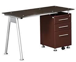stylish computer desk amazon com techni mobili stylish brown tempered glass top computer