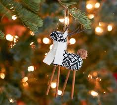 black fair isle knit reindeer ornament pottery barn