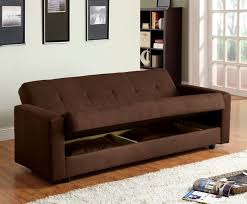 jansen brown microfiber futon sofa w storage