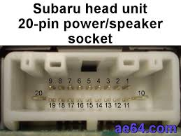subaru 20 pin radio harness pin out