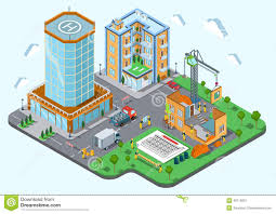 conceptmodern construction place city concept modern trendy flat 3d isometric