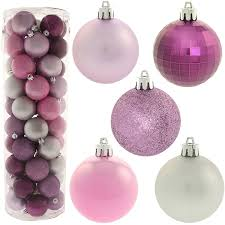 50 piece colour co ordinated christmas tree baubles decoration