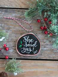 she said yes wood slice ornament the patch
