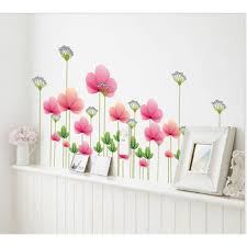 pink spring flowers wall decal sticker wackydot pink spring flowers wall decal sticker