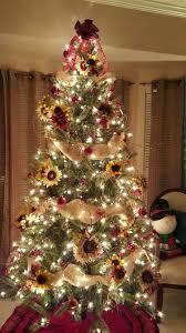 sunflower theme christmas tree plaid burlap creationsbygec