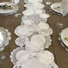 prettie table runner shabby rustic paper doilies diy weddings