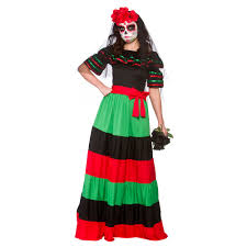 Halloween Death Costume Ladies Womens Mexican Dead Costume Halloween Zombie