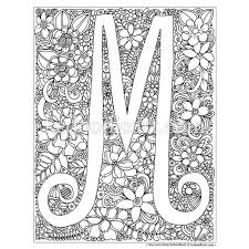 Instant Digital Download Adult Coloring Page Letter M M Coloring Pages