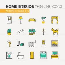 house interior linear thin line icons set stock vector art