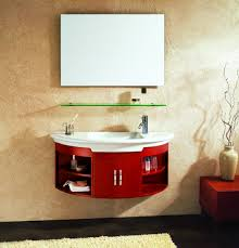 bathroom half moon cherry finished floating vanity which beautify
