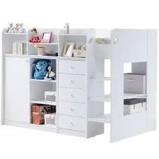 white kids bookcase kids wizard high sleeper storage bed in white kids beds cuckooland