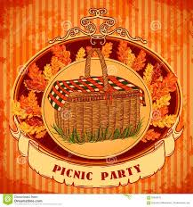 Invitation Card Printers Picnic Party In Meadow With Picnic Basket And Autumn Leaves Grass