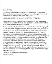 7 business resignation letters free sample example format