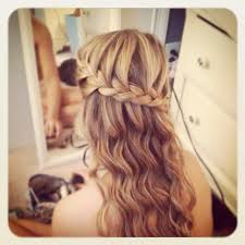pageant style curling long hair loose curls with braid around the head curls braids waves