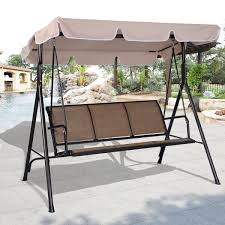 Wooden Swing Set Canopy by Costway 3 Person Outdoor Patio Swing Canopy Awning Yard Furniture