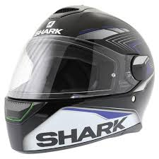shark skwal matador black blue with led lights helmet excite